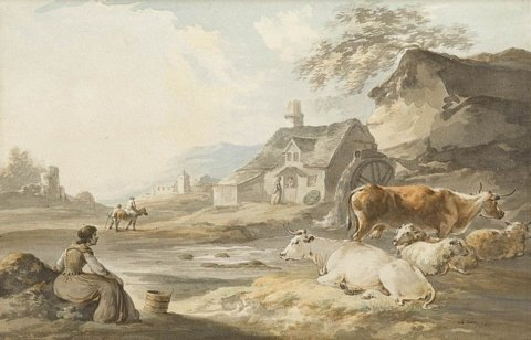 Milkmaid and cows at water's edge